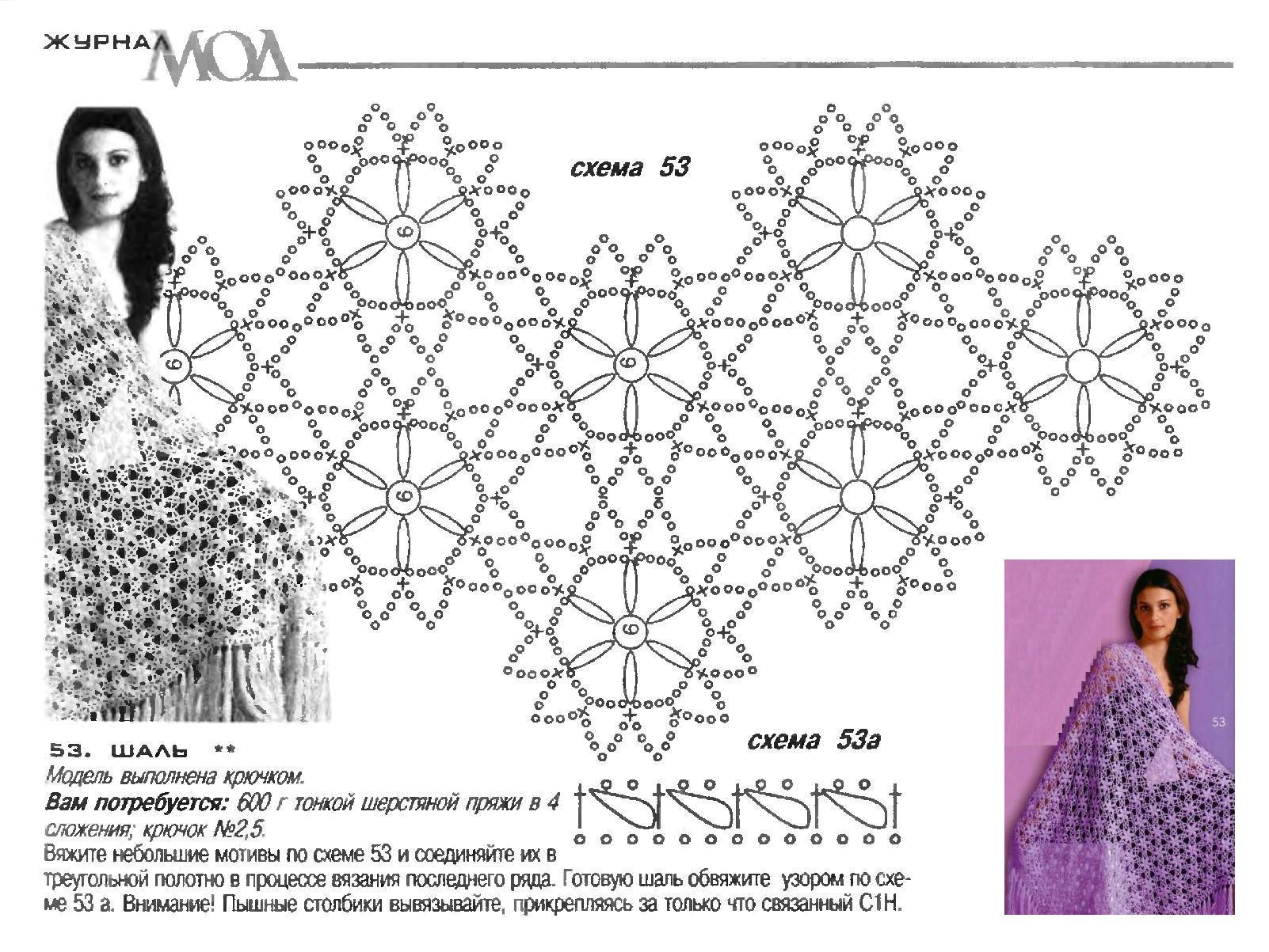 Вязанные шали со схемой в